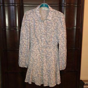 Long Sleeve, Floral, Lightweight Mini Skater Dress